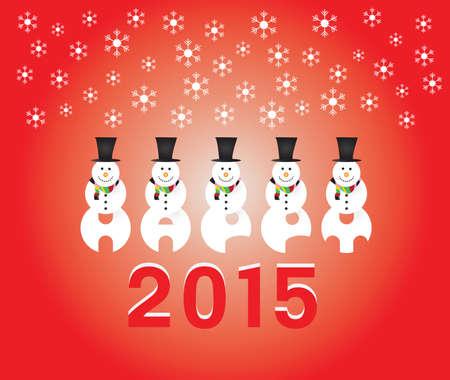 happy 2015 snowman red Vectores
