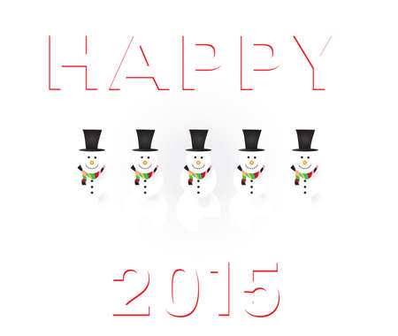 joyous: happy 2015 snowman white