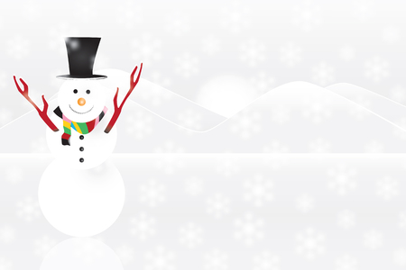 snowman with snow background and mountains Vectores