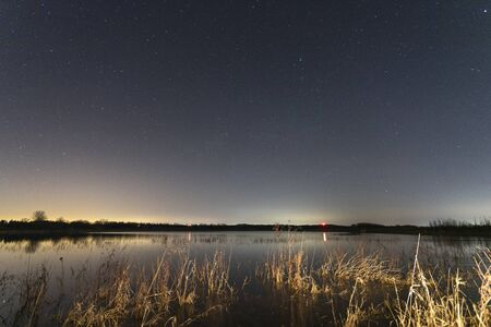 Stars at night time over landscape in Bong State Park