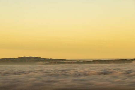 Clouds over San Francisco skyline early morning