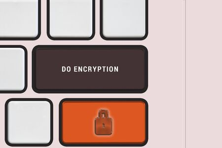 Computer keyboard view from top with message to do encryption using lock symbol