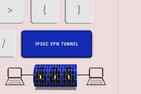 Computer keyboard view from top showing IPSEC VPN Tunnel