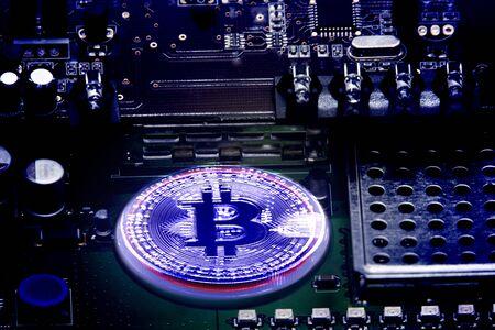 Crypto currency mining device Bitcoin Foto de archivo