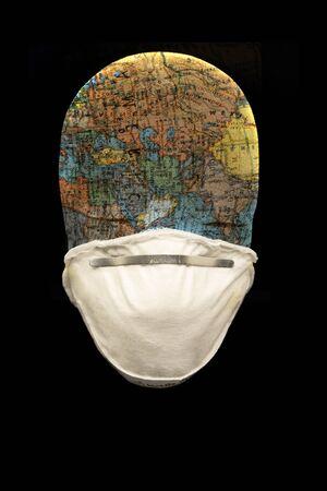 N95 mask with manakin head depicting the globe in black background