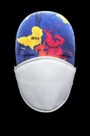 Health mask depicting global pandemic breakout in the world