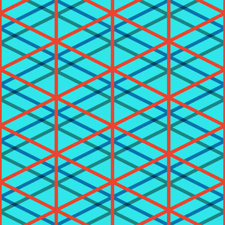 intersect: The lines that intersect in a 3D perspective. Blue Seamless pattern. Vector illustration. Can be used as background for games, software, clothing, fabrics, shirts and textiles
