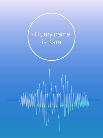soundwave: soundwave on blue background. intelligent personal assistant with name. Text: Hi, my name is Kara. vector illustration