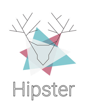 geometric hipster logo with head of deer. triangles on a white background. deer head with fine lines. simple modern logo. vector illustration Illustration