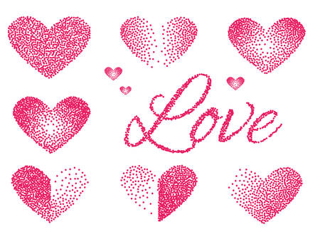 Set of Stickers love and heart. Pink color. Halftone Design. Vector illustration Illustration