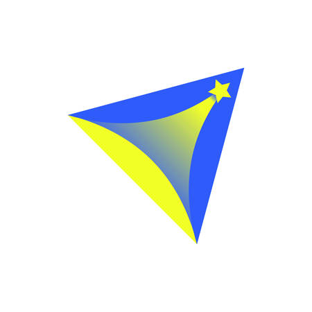 Logo triangle with the star that shoots up. The symbol for startups and games. Vector illustration