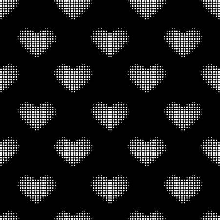 Seamless pattern with white halftone heart. background in black color. Vector illustration. A good choice for the backdrop print, website, flyers, invitation in a retro style