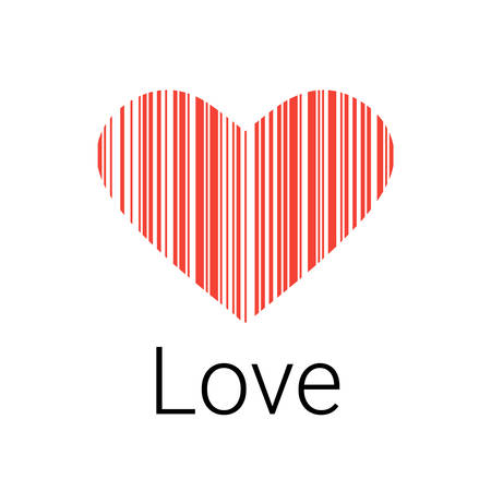 Red Heart bar code, icons and element for valentines and wedding Illustration