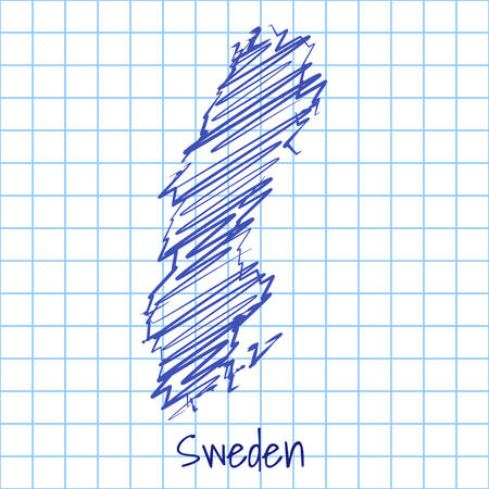 Map of Sweden, blue sketch abstract background. The hand drawn map on school grid background texture. scribble pan vector illustration Ilustrace