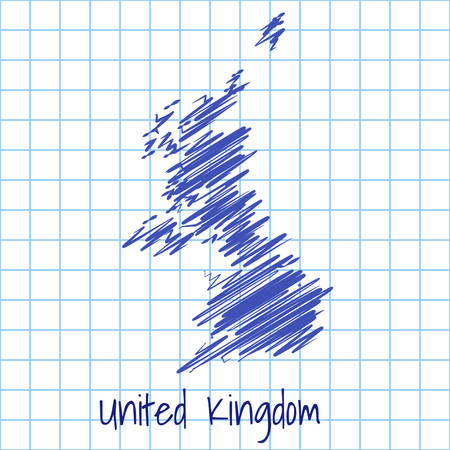 Map of United Kingdom, blue sketch abstract background. The hand drawn map on school grid background texture. scribble pan vector illustration