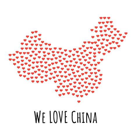 China Map with red hearts- symbol of love. abstract background with text We Love China. vector illustration. Print for t-shirt Illustration