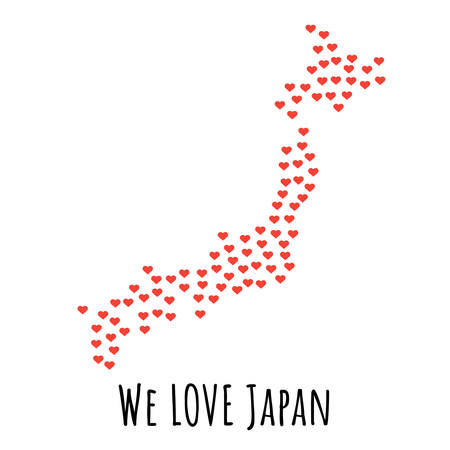 Japan Map with red hearts- symbol of love. abstract background with text We Love Japan. vector illustration. Print for t-shirt Vettoriali