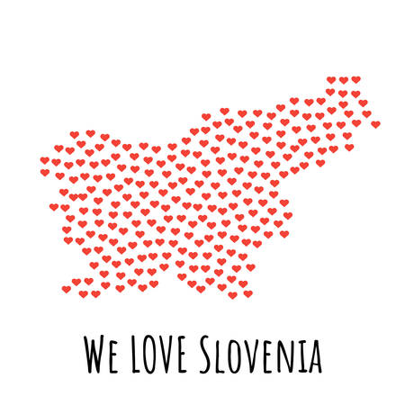 Slovenia Map with red hearts