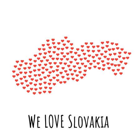 Slovakia Map with red hearts Illustration