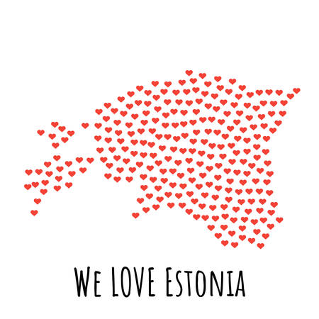 Estonia Map with red hearts- symbol of love. abstract background with text We Love Estonia. vector illustration. Print for t-shirt