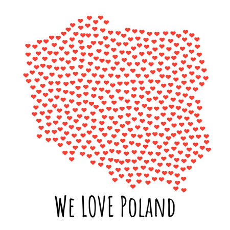 Poland Map with red hearts- symbol of love. abstract background with text We Love Poland. vector illustration. Print for t-shirt