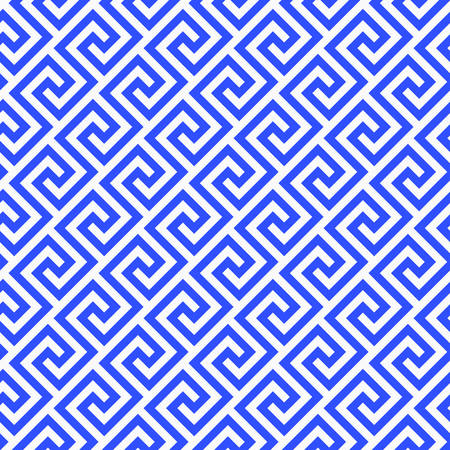 Geometrische Linie. abstraktes nahtloses Muster mit griechischem antikem Motiv. Vektor-Illustration. Abstrakter Hintergrund für den Gewebestoff, Mode, keramischer Boden, Verzierungsgewebe, Beschaffenheit. blaues Porzellan Standard-Bild - 88939161