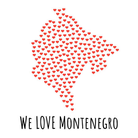 Montenegro Map with red hearts- symbol of love. abstract background with text We Love Montenegro. vector illustration. Print for t-shirt