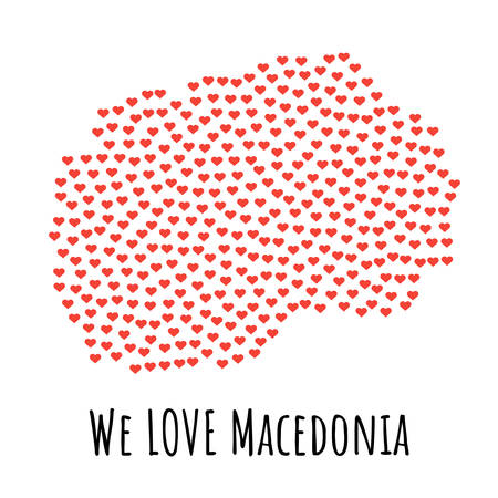 Macedonia Map with red hearts- symbol of love. abstract background with text We Love Macedonia. vector illustration. Print for t-shirt