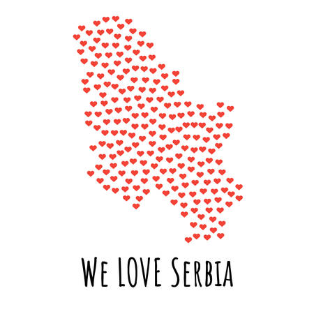 Serbia Map with red hearts- symbol of love. abstract background with text We Love Serbia. vector illustration. Print for t-shirt