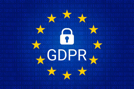 GDPR - General Data Protection Regulation. Security technology background. Vector illustration