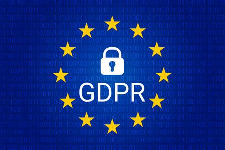 GDPR - General Data Protection Regulation. Security technology background. Vector illustration