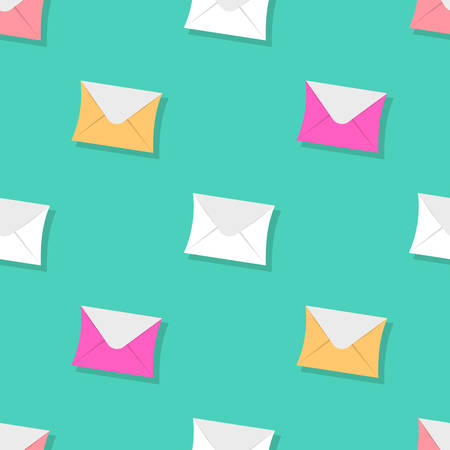 Seamless pattern emails, letters, directed upwards. Background for web sites, services delivery, subscription. Flat design and bright colors. Vector illustration
