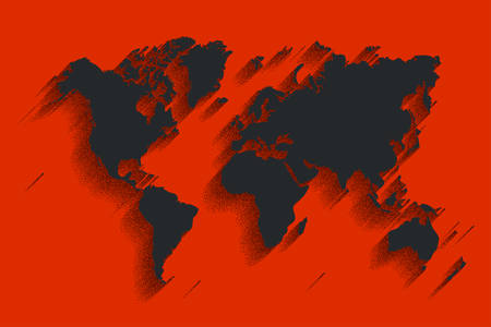 clearly: World map vector. red color background with shadow