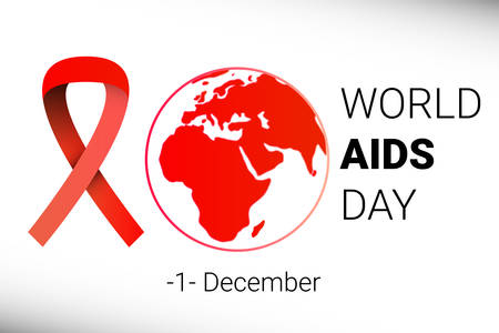 aids awareness ribbon: World AIDS Day 1 December. red hiv ribbon awareness. Vector illustration