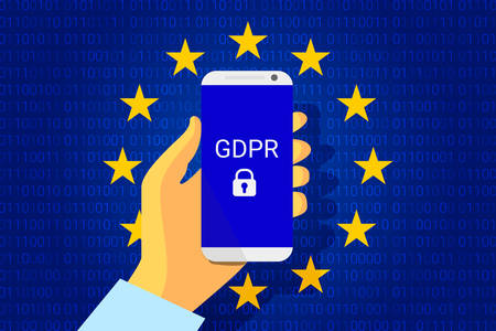 GDPR - General Data Protection Security technology background. Regulation. phone in hand. Vector illustration Stock fotó - 89282415