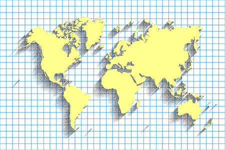 Vector de mapa del mundo fondo de color azul con sombra world map vector blue color background with shadow and grid gumiabroncs Images