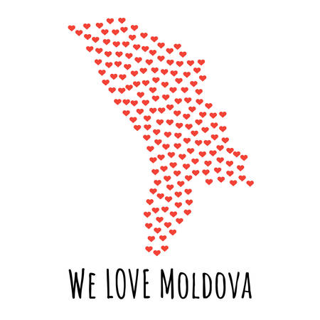 Moldova Map with red hearts- symbol of love. abstract background with text We Love Moldova. vector illustration. Print for t-shirt