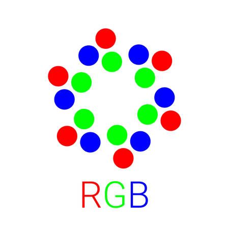 Modern RGB logo for business. Can be used in business connected monitors. Vector illustration symbol Illustration