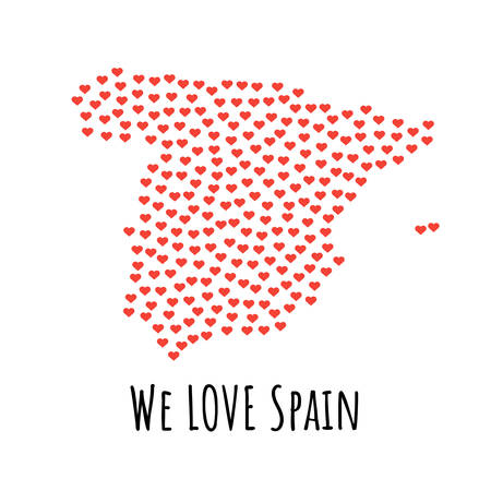 Spain Map with red hearts- symbol of love. abstract background with text We Love Spain. vector illustration. Print for t-shirt