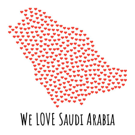 Saudi Arabia Map with red hearts- symbol of love. abstract background with text We Love Saudi Arabia. vector illustration. Print for t-shirt