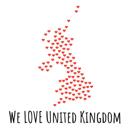 United Kingdom Map with red hearts- symbol of love. abstract background with text We Love United Kingdom. vector illustration. Print for t-shirt Illusztráció