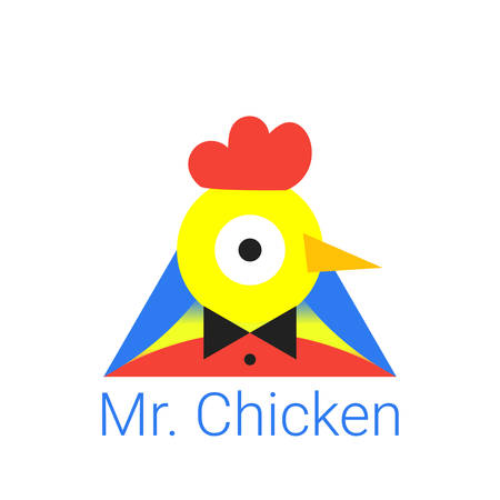 Young chick with the text of Mr. Chicken. The symbol for farm business, childrens games, fast food restaurant, meat chicken shop. Vector illustration in flat style.