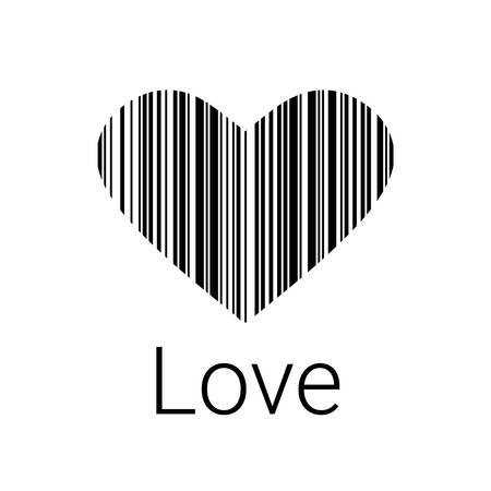 Black Heart Bar Code Icons And Element For Valentines And Wedding