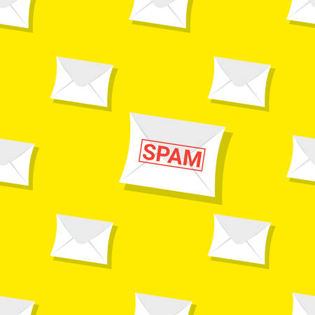 Seamless pattern SPAM emails, letters, directed upwards. Background for web sites, services delivery, subscription. Flat design and bright colors. Иллюстрация