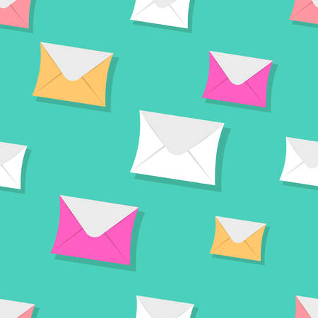 Seamless pattern emails, letters, directed upwards. Background for web sites, services delivery, subscription. Flat design and bright colors. Иллюстрация
