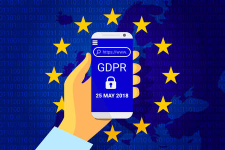 Cellphone with GDPR-General Data Protection Regulation security text  in blue background. Phone in hand  Vector illustration