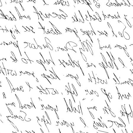 handwritten abstract text. Seamless pattern written with a black pen. Vector illustration for fabric texture