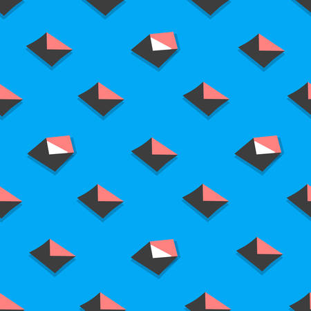 Seamless pattern emails, letters, directed upwards. Background for web sites, services delivery, subscription. Flat design and bright colors. Vector illustration. open envelope