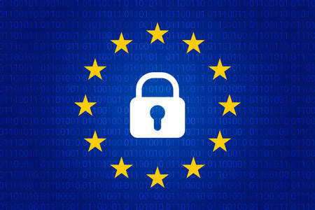 A lock surrounded with small stars in blue background. General Data Protection Regulation. Security technology background. Vector illustration