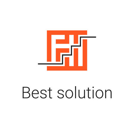 logo labyrinth. Modern vector symbol maze. icons for logotype game, quest, corporate branding, business identity in orange color with text Best solution and the black line maze solution